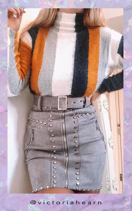 Lydia Zip Up Studded Skirt