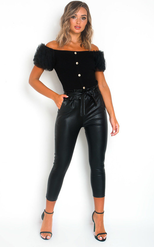 Lyla Faux Leather Paperbag Trousers
