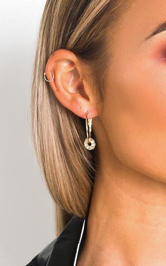 Lyla Hoop Diamante Charm Earrings
