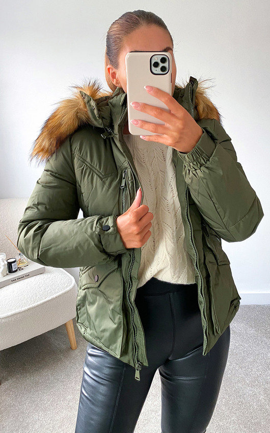 Lynette Belted Padded Jacket with Faux Fur Hood
