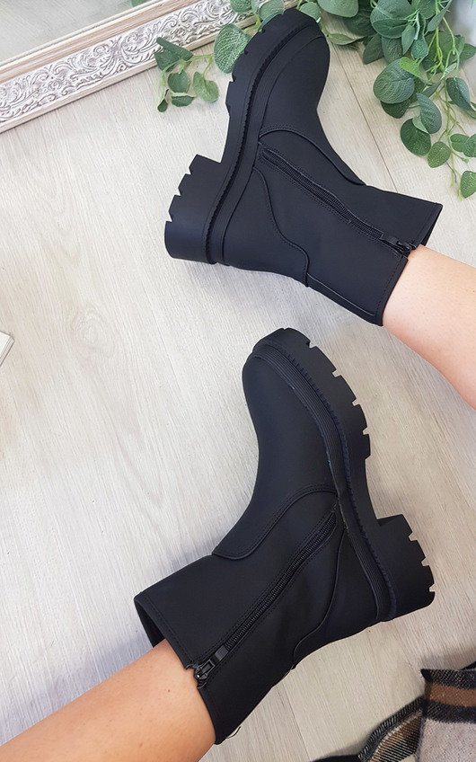 Mabel Faux Leather Chunky Ankle Boots