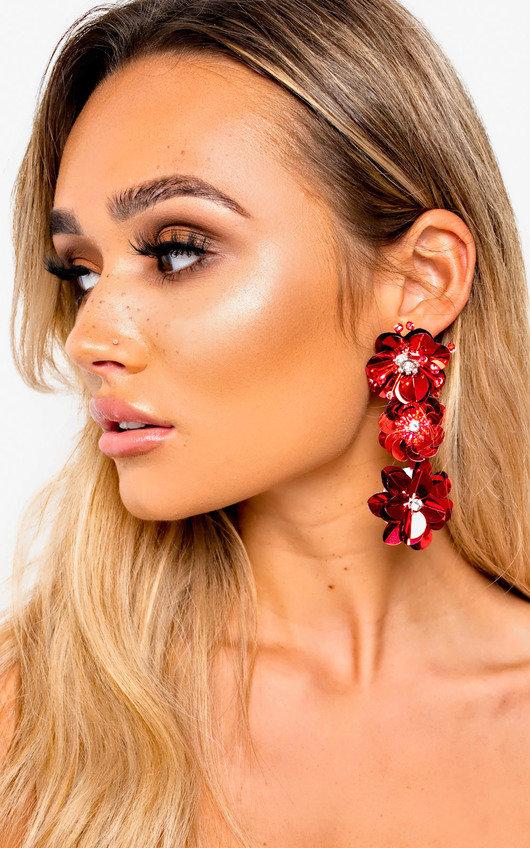 Macey Metallic Flower Cluster Drop Earrings