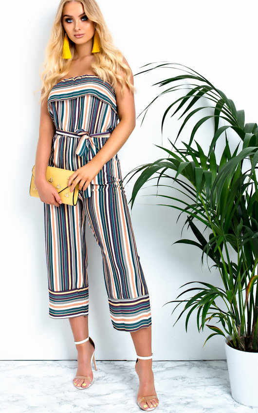 Madison Stripe Bandeau Wide Leg Jumpsuit
