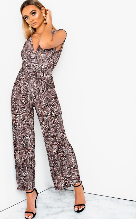Mads Plunge Crimped Wide Leg Stretch Jumpsuit