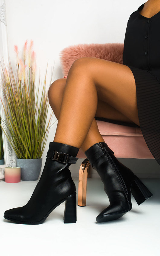 Maggie Faux Leather Buckle Heeled Boots