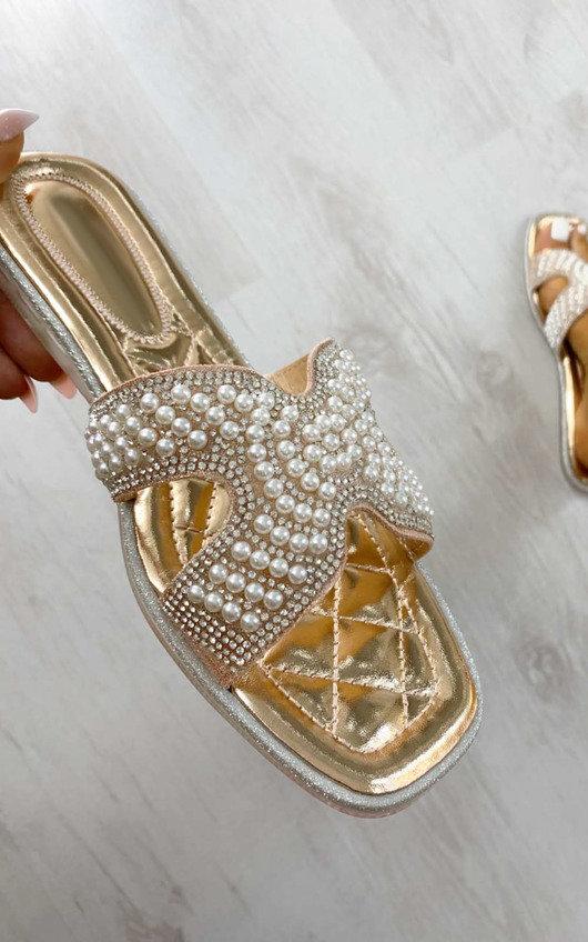 Maggie Pearl Embellished Slip On Sandals