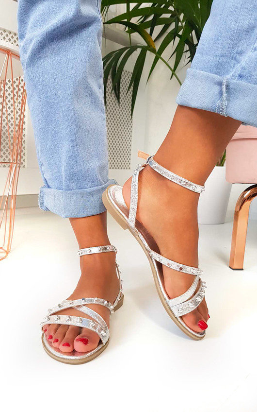 Mags Ankle Strap Studded Sandals