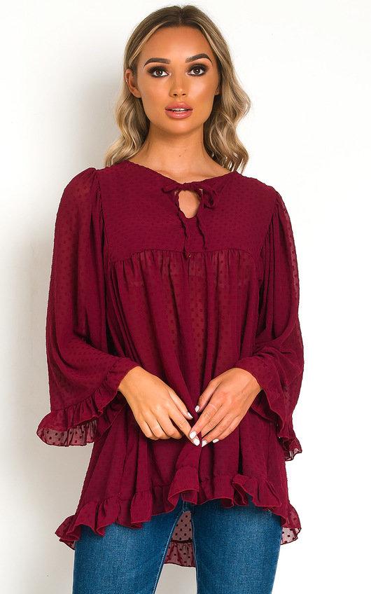 Mags Tie Neck Frill Mini Dress
