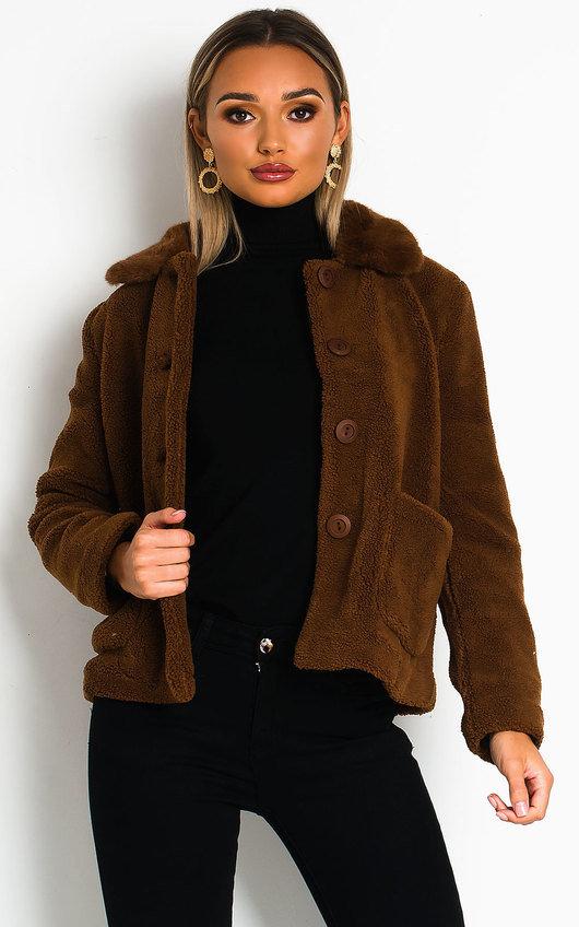 Malia Teddy Bear Button Up Jacket