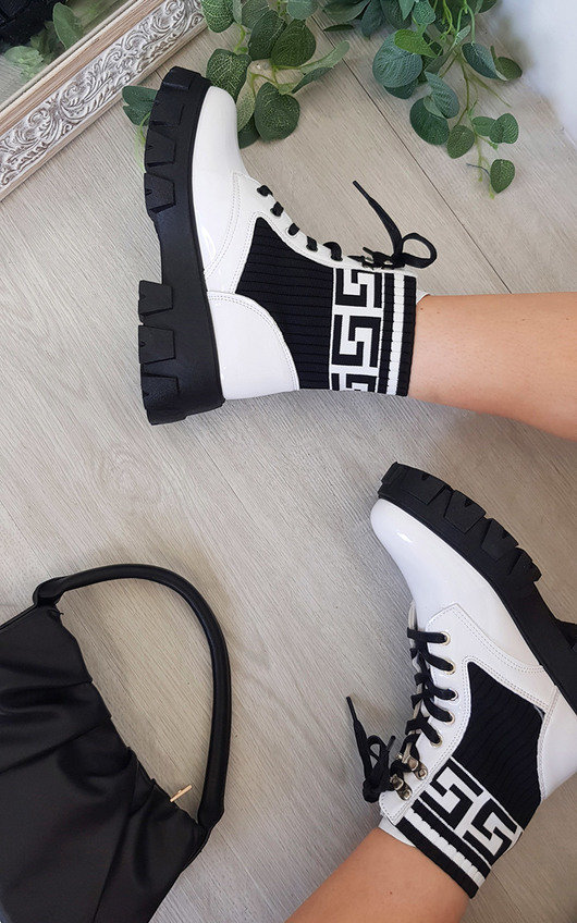 Mallory Lace Up Printed Chunky Ankle Boots
