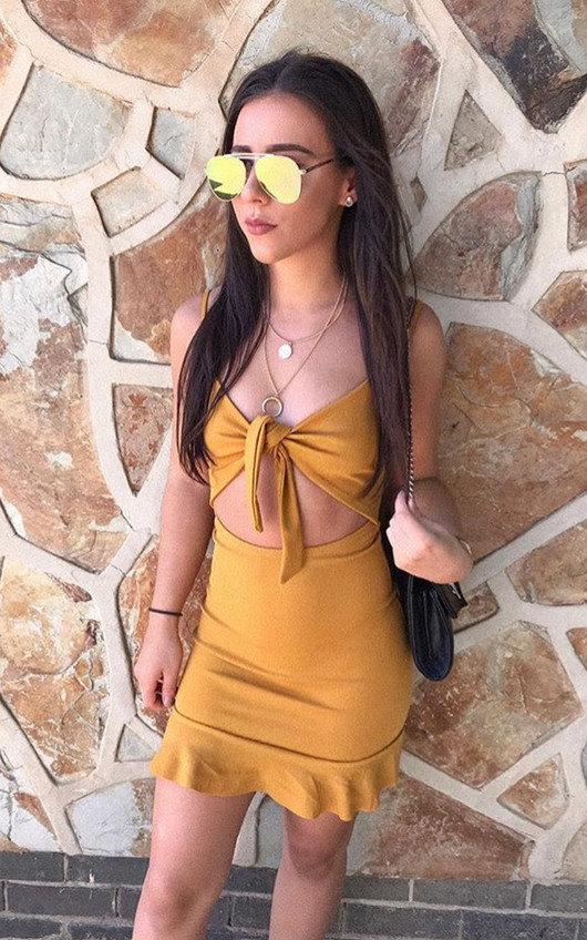 93d904eacc3e Mandy Frill Hem Tie Front Mini Dress in Yellow