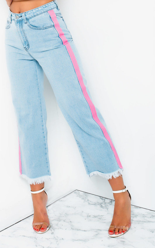 Mandy Striped Mid Rise Flared Jeans