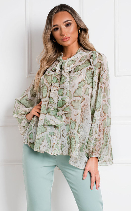 Marcella Tie Neck Shirt Top
