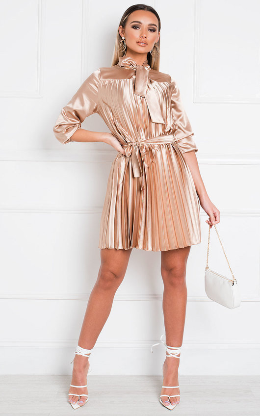 Margie Satin Pleated Mini Dress