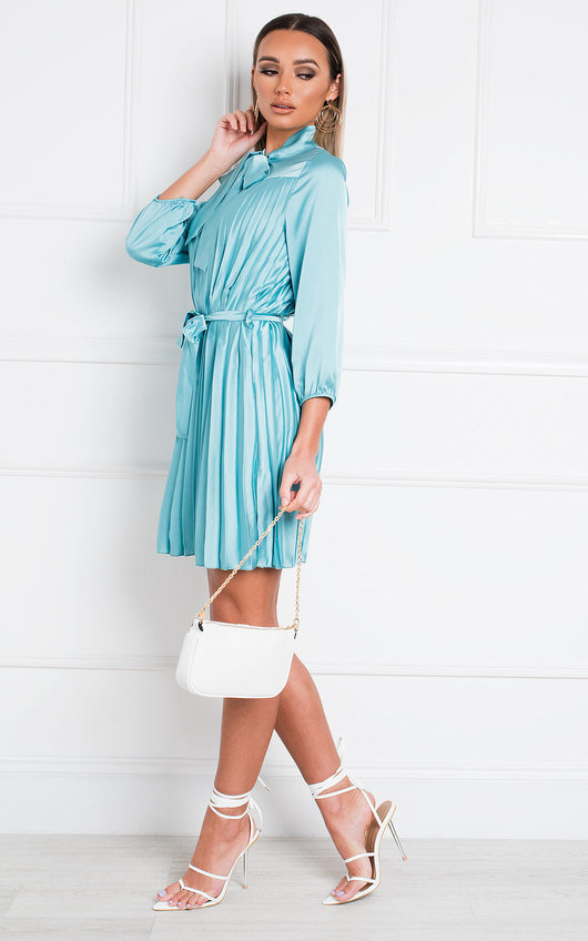 Margie Satin Pleated Mini Dress