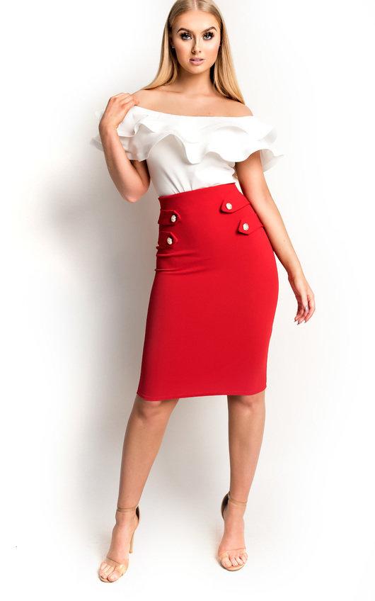Margo Bodycon Button Pencil Skirt