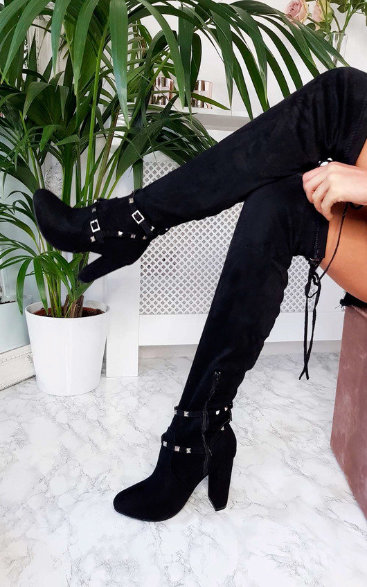 Mari Faux Suede Over Knee Studded Boots