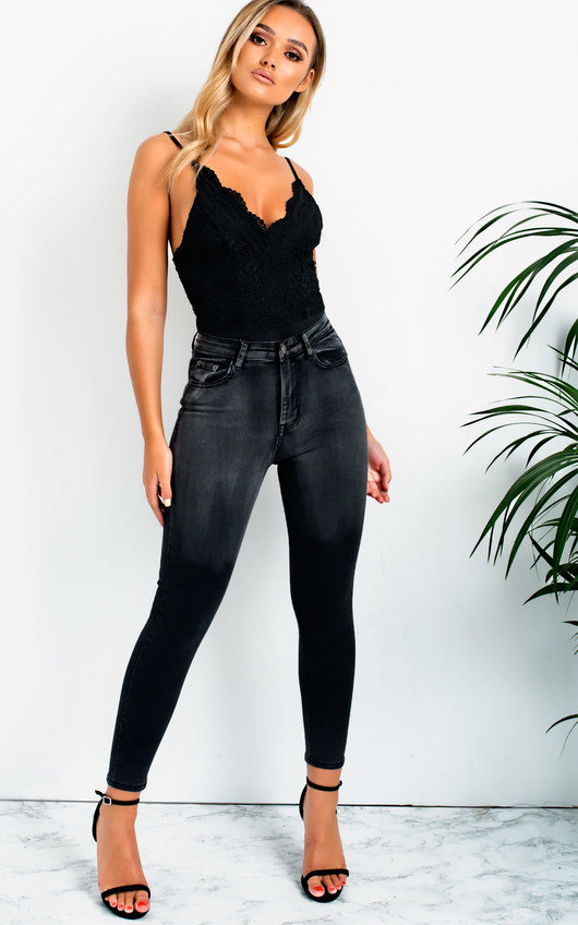 Mari Lace Plunge Bodysuit in Black  6eeafcda7