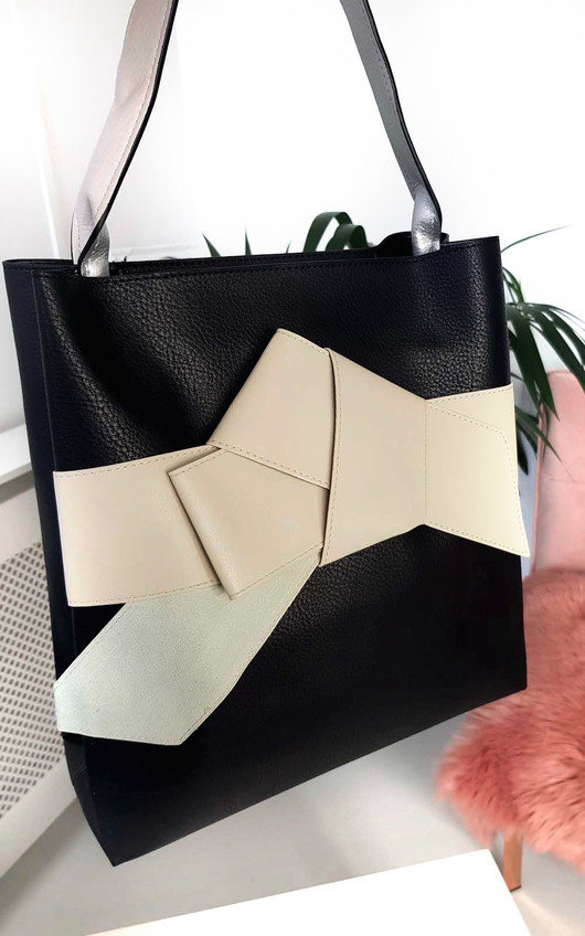 Maria Colour Block Bow Tote Handbag