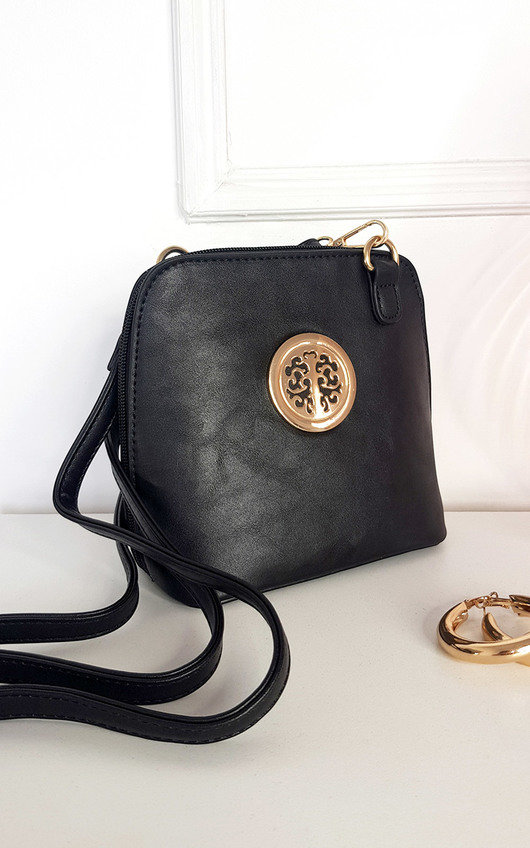 Maria Faux Leather Crossbody Bag with Gold Detail