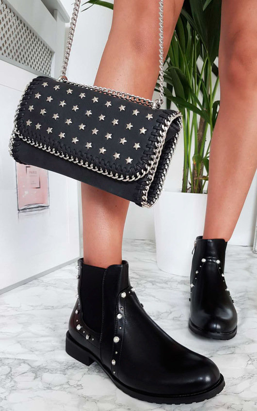 Maria Pearl Studded Ankle Boots