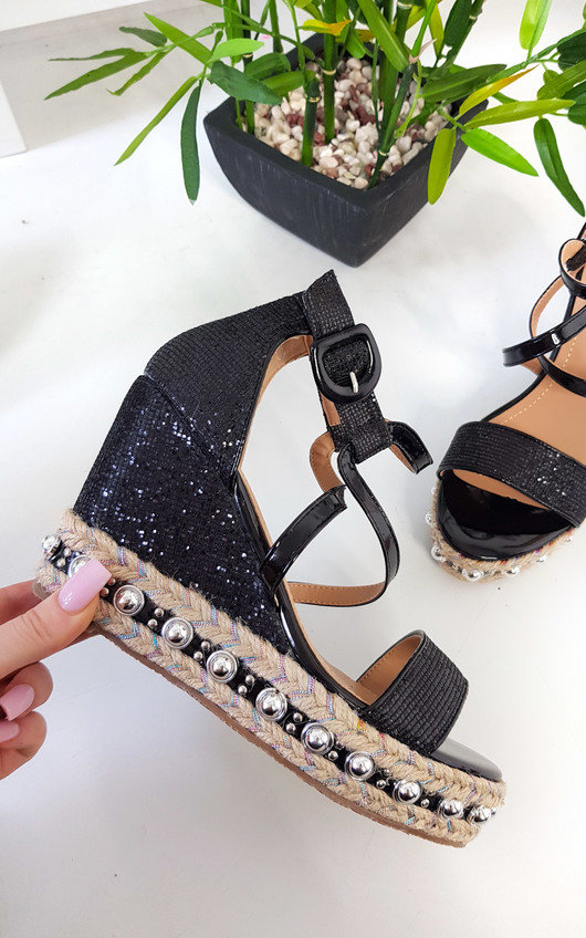Maria Studded Crossover Wedged Heel
