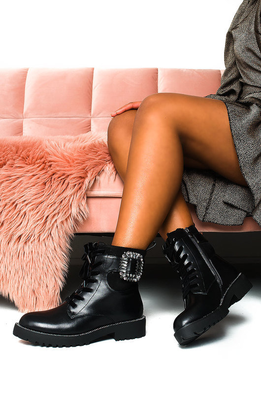 Mariah Embellished Brooch Biker Boots