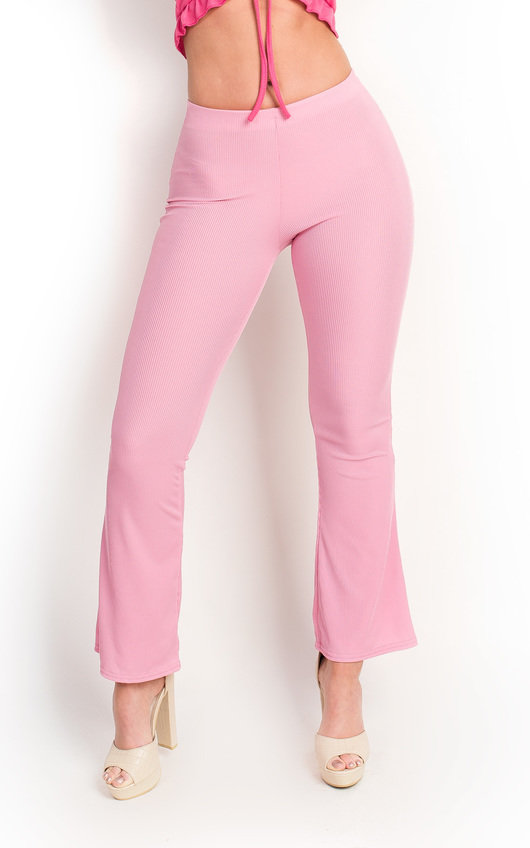 Mariana Basic Ribbed Stretch Flare Trousers