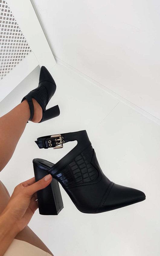 Marina Buckle Block Heel Boots