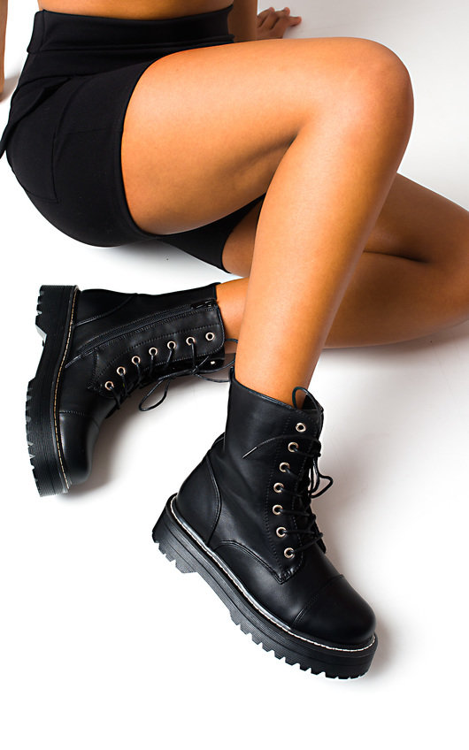 Marina Lace Up Biker Boots