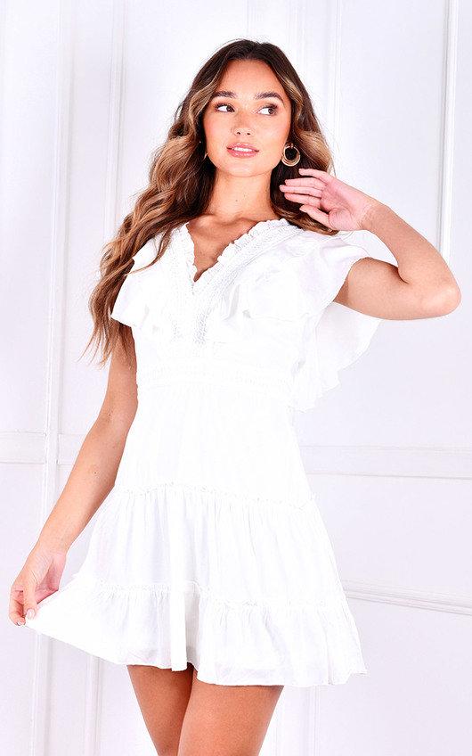 Marissa V Neck Ruffle Mini Dress