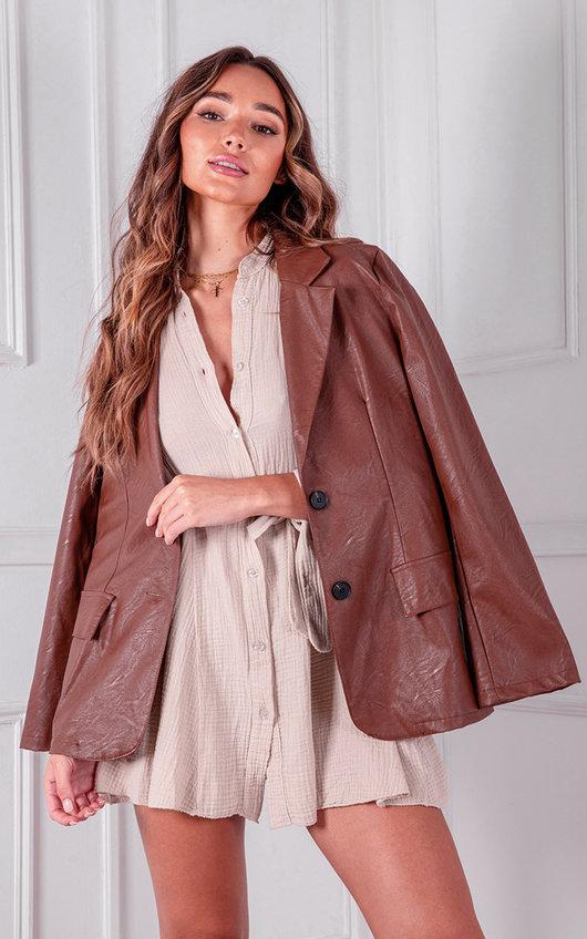 Marta Faux Leather Blazer