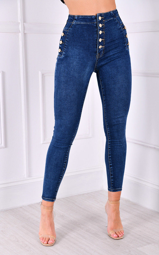 Marta High Waisted Button Up Gold Detail Skinny Jeans