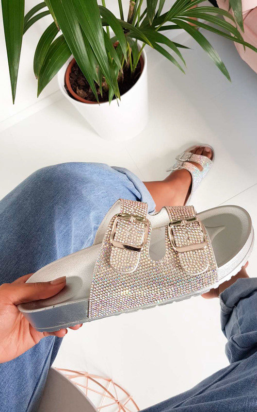 Marti Diamante Embellished Buckle Sliders
