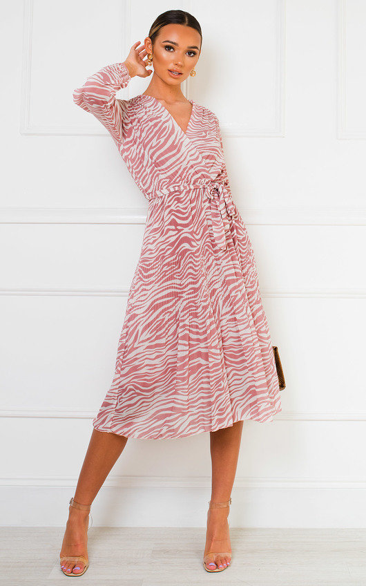 Marty Pleated Shift Midi Dress