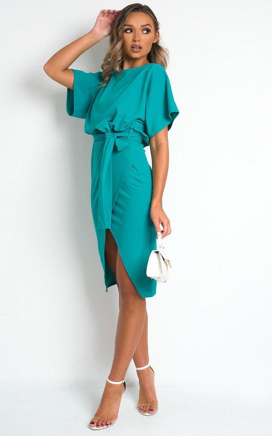 Mary Batwing Split Midi Dress