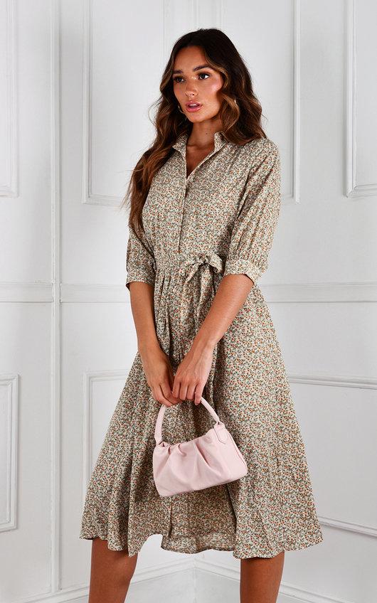 Mary Tie Waist Printed Midi Dress