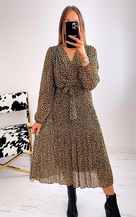 May Leopard Print Pleated Maxi Dress