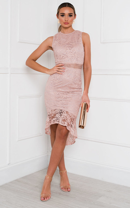 Maya Lace Fishtail Midi Dress