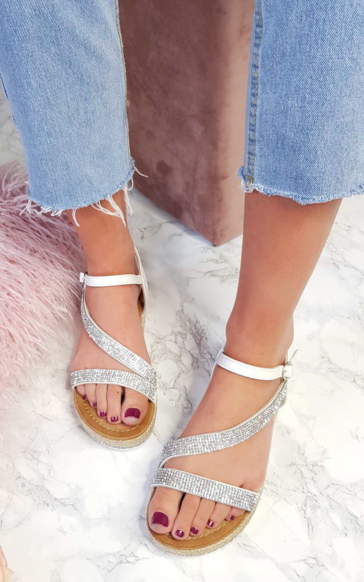 Maylie Diamante Flatform Sandals