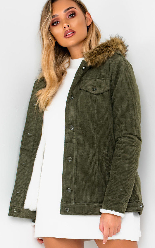 Mayne Faux Fur Hooded Cord Jacket