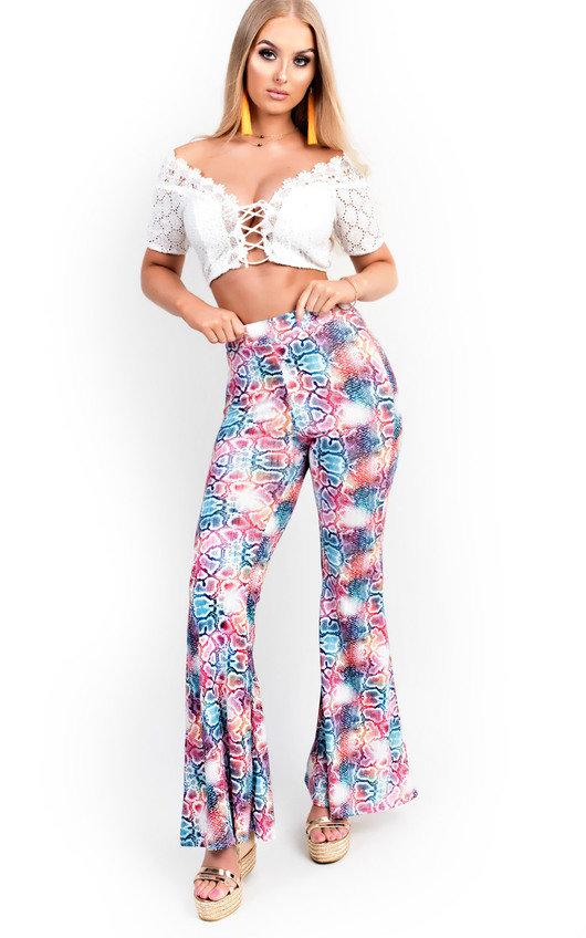 Meg High Waist Printed Flare Trousers