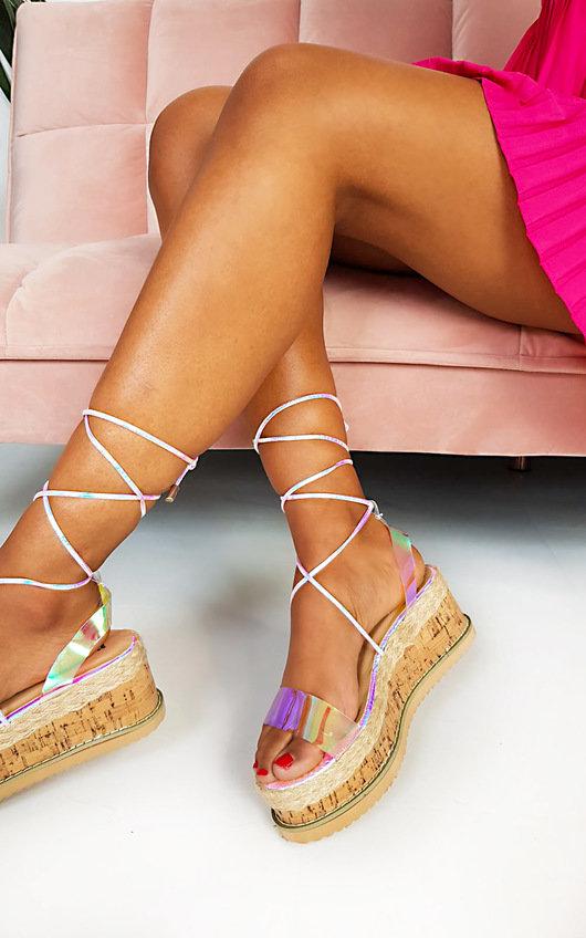 Mel Iridescent Flatform Sandals