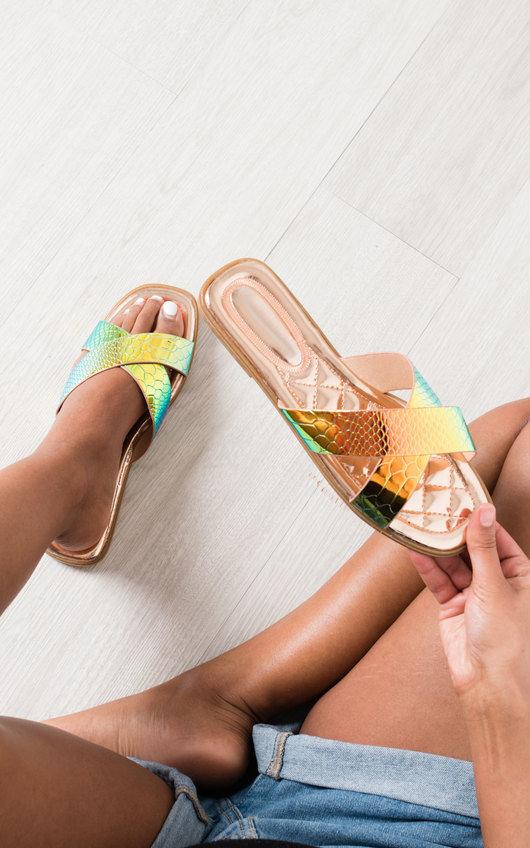 Melanie Iridescent Crossover Slip On Sandals