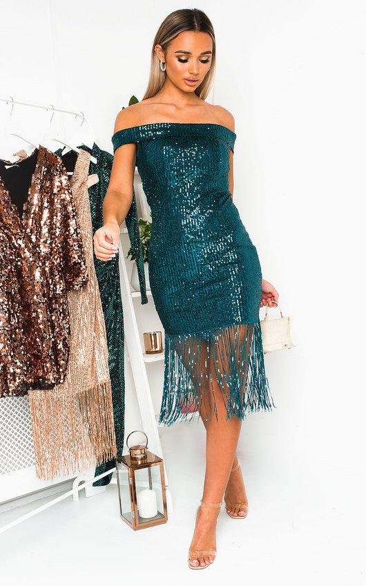 Melanie Sequin Tassled Midi Dress