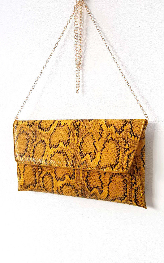 Melinda Snake Print Envelope Clutch Bag