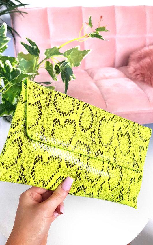 Melinda Snake Print Envelope Clutch Bag