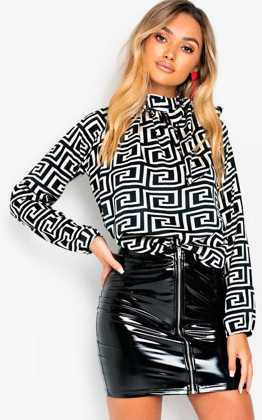 Melinda Tie Neck Print Blouse Shirt