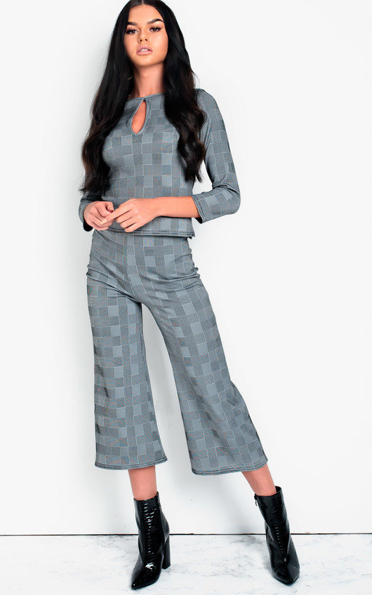 Mellie Check Culotte High Waist Crop Co-ord