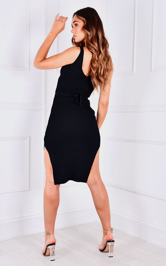 Mhairi Lace Up Knitted Midi Dress